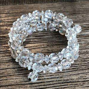 Vintage Cut Glass Crystal Memory Wire Bracelet